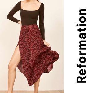 New reformation zoe red midi skirt